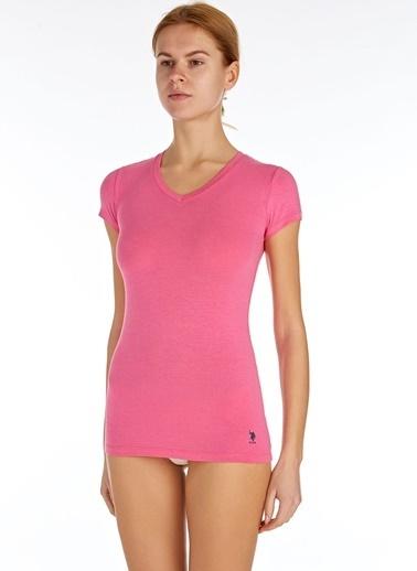 U.S. Polo Assn. Kadın Kısa Kollu V Yaka T-Shirt Fuşya